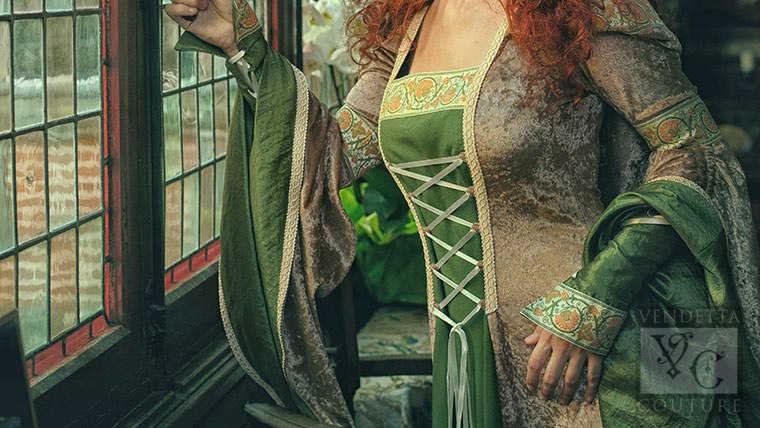 Custom Green and Gold  Medieval dress