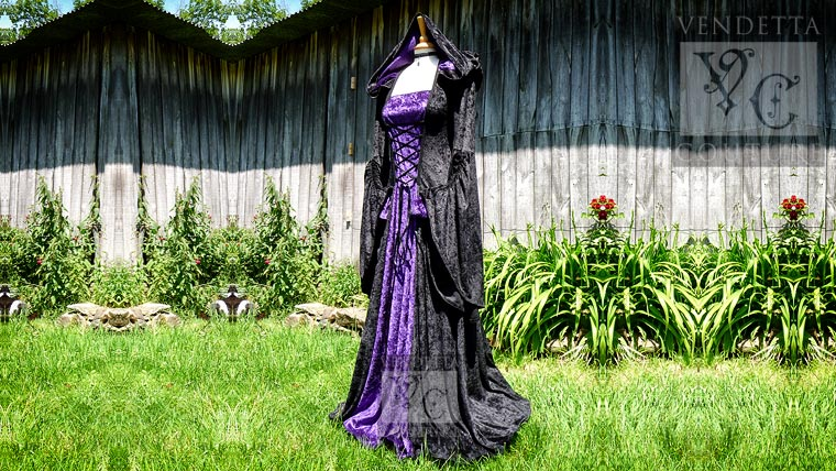 Violet-016 hooded  gown
