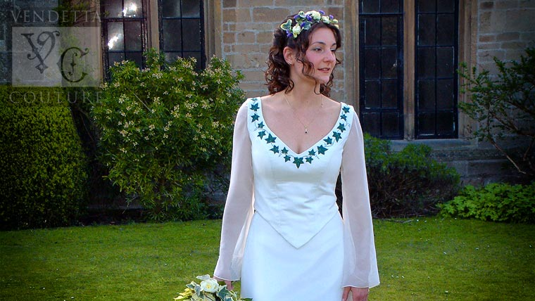 Bespoke wedding dress with embroidered ivy leaves